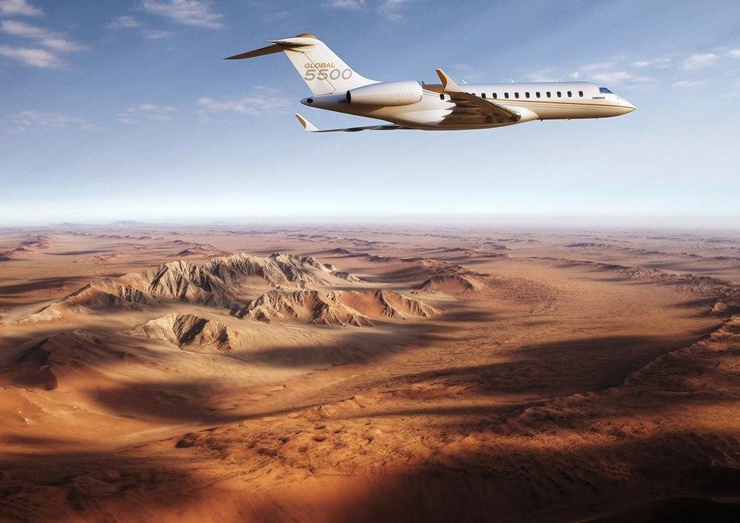 El primer jet Bombardier Global 5550 ya está en el aire.